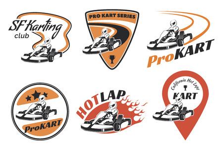 Conjunto de emblemas de carreras de kart e iconos. Ilustración con elementos de karting. Kart Racer con casco.