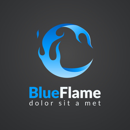 fire flame: Circle flame icon. Sphere fire icon. Modern stylized flame.