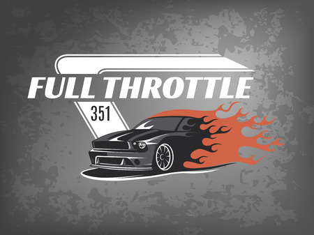 Muscle icon on dark grunge background. Service car repair, car restoration and car club design elements. T-shirt design. American muscle car for printing.
