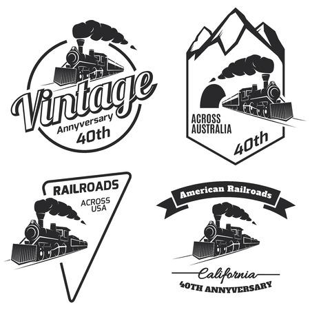 Conjunto de icono de tren retro, emblemas e iconos aislados sobre fondo blanco. colección de etiquetas de locomotora de la vendimia. etiquetas de ferrocarril. Ilustración de vector
