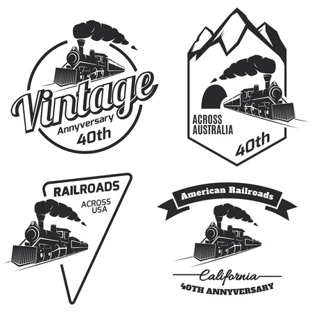 caboose: Set of retro train icon, emblems and icons isolated on white background. Vintage locomotive label collection. Railroad labels.