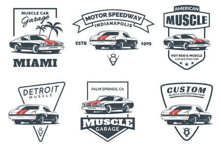 hot: Set of classic muscle car icon, emblems, badges and icons isolated on white background. Service car repair, car restoration and car club design elements.