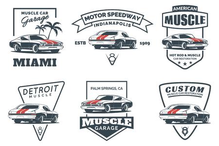 Zestaw ikon klasyczny muscle car, emblematy, odznaki i ikony samodzielnie na białym tle. Naprawy samochodów, renowacja samochodów i elementów Club Car. Ilustracje wektorowe