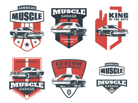 racing wheel: Set of classic muscle car icon, emblems, badges and icons isolated on white background. Service car repair, car restoration and car club design elements.