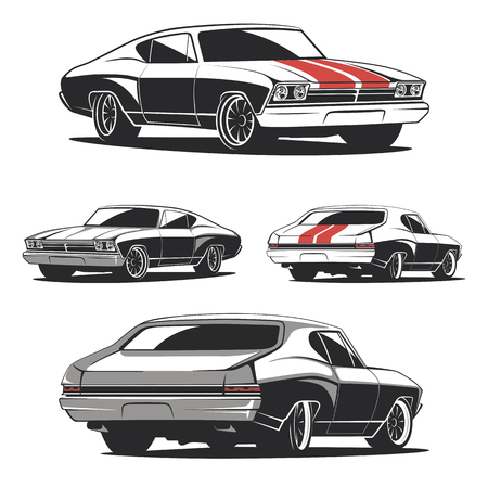 Set of muscle car templates for icons and emblems isolated on white background. Front and back isometric view. Car isolated on white background.