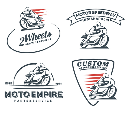 Vintage cafe racer motorcycle icon, badges and emblems isolated on white background. Motorcycle restoration, service and parts. Classic motorcycle t-shirt design.  イラスト・ベクター素材