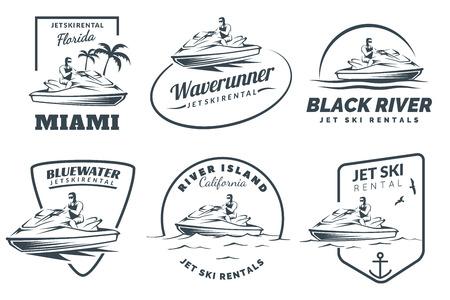 moto acuatica: Conjunto de alquiler de motos acuáticas icono, insignias y emblemas aislados sobre fondo blanco. moto de agua con el hombre.