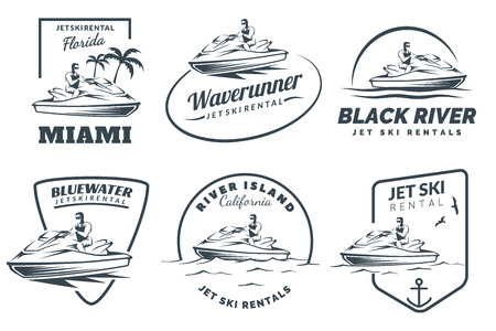 Set of Jet Ski rental icon, badges and emblems isolated on white background. Water scooter with man.