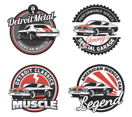 Set of muscle car round emblems isolated on white background.