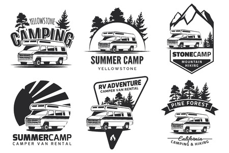campground: Set of monochrome camper van car  , emblems and badges isolated on white background. Recreational vehicle and camping design elements.