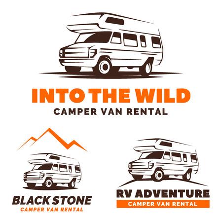 Set of camper van  on white background. RV vehicle design