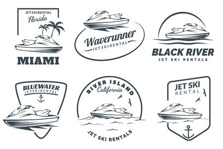 Set of jet ski rental  on white background. Watercraft vehicle illustration. Vectores