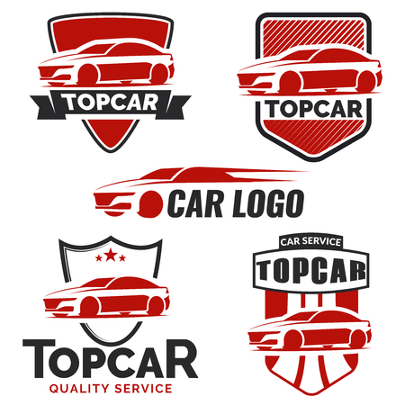 automotive repair: Modern car logo on white background.