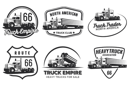 Set of classic heavy truck  , emblems and badges. Truck with trailer and tip truck. Vector illustration.