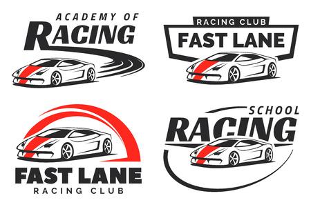 Conjunto de carreras de coches deportivos, emblemas e insignias aisladas sobre fondo blanco. competir con la escuela o elementos de diseño de la academia. Ilustración de vector