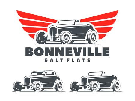 Retro Hot Rod avec des ailes stylisées logo. appartements de sel de Bonneville course logo. Roadster et coupé Hot Rod isolé sur fond blanc.