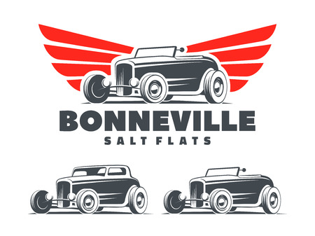 Retro Hot Rod with stylized wings logo. Bonneville salt flats racing logo. Roadster and coupe Hot Rod isolated on white background.