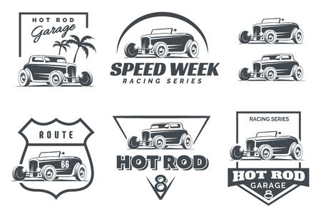 Set Hot Rod Logo, Embleme und Symbole. Roadster und Hot-Rod-Illustration Coupé auf weißem Hintergrund. Standard-Bild - 66865258