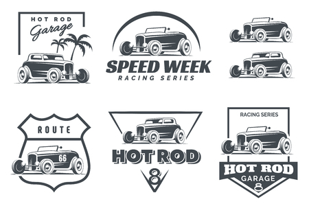 Set of Hot Rod logo, emblems and icons. Roadster and coupe hot rod illustration isolated on white background. Stock Illustratie
