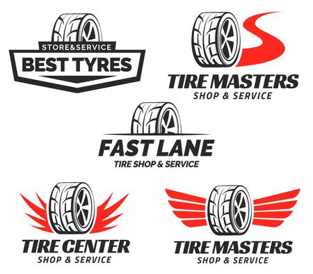 Conjunto de Tyre Shop Logo Design. servicio de reparación de rueda. almacenamiento de neumáticos logotipo de la empresa.