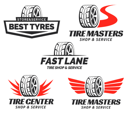 Set of Tyre Shop Logo Design. Wheel repair service. Tire storage company logo.