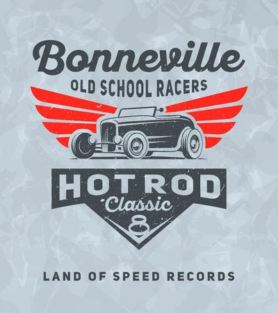 Vintage american hot rod auto pour impression avec texture grunge. Vector old school Bonneville poster de course. Design d'impression de t-shirt. Rétro affiche de voiture hot-rod. Vecteurs