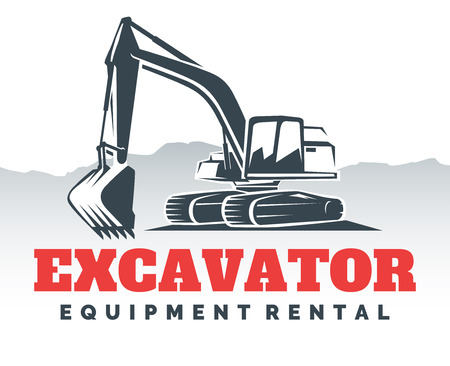 heavy: Set of excavator logos, emblems and badges isolated on white background. Constructing equipment design elements. Heavy excavator machine with shovel.