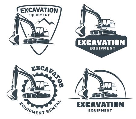 maquinaria pesada: Excavadora logotipo aislado sobre fondo blanco. Vectores