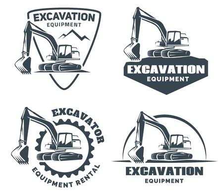 Excavator logo isolated on white background. Çizim