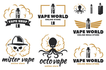 Set of vape, e-cigarette logo, emblems, and badges isolated on white background. Vector vintage illustration.  イラスト・ベクター素材