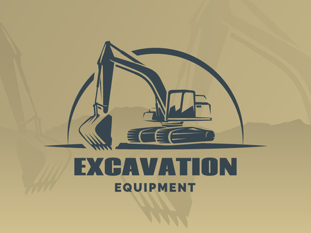 Excavator logo on brown background.