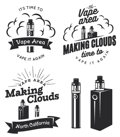 Set of vape, e-cigarette logo, emblems, and badges isolated on white background. Vector vintage illustration. Vettoriali