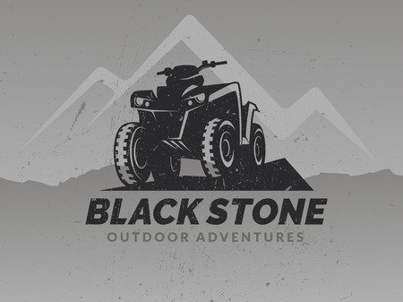 ATV logo on grunge grey backgrounds with mountains. T-shirt print design. 矢量图像