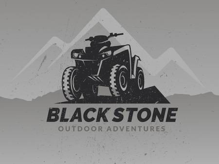 ATV logo on grunge grey backgrounds with mountains. T-shirt print design. Stock Illustratie