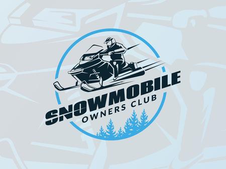 emblème de la motoneige en hiver sur fond bleu. T-shirt de conception d'impression.