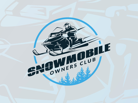 Winter snowmobile emblem on blue background. T-shirt print design.