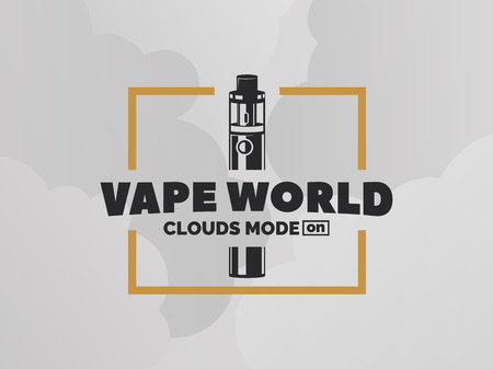 Vape e-cigarette logo on grey background with clouds. T-shirt print design.