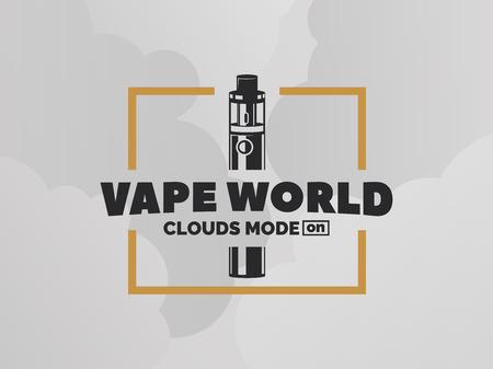 eliquid: Vape e-cigarette logo on grey background with clouds. T-shirt print design.