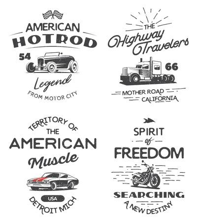 Ensemble de la typographie logo de voiture de muscle, poids lourds, motos et hot rod isolé sur fond blanc. T-shirt de conception d'impression. Banque d'images - 69774115