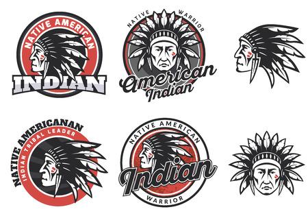 indios americanos: Conjunto de indio americano redondas logotipo, insignias y emblemas aislados sobre fondo blanco. Rostro de indio americano. Vectores