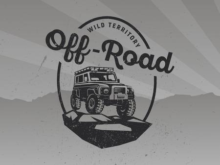 Suv auto logo op grunge grijze achtergrond.