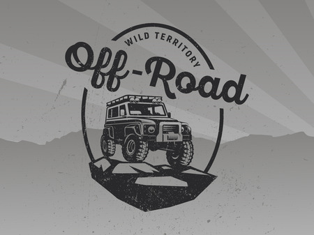 Suv car logo on grunge grey background.