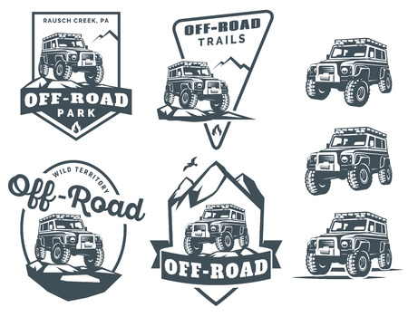 off white: Set of off-road suv car monochrome logo, emblems and badges isolated on white background. Rock crawler car in mountains. Off-roading trip emblems, 4x4 extreme club emblems.