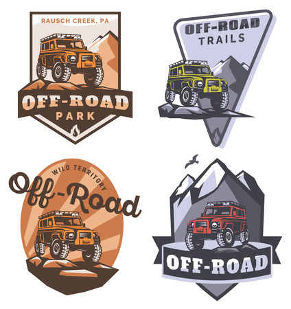 4x4: Set of off-road suv car monochrome logo, emblems and badges isolated on white background. Rock crawler car in mountains. Off-roading trip emblems, 4x4 extreme club emblems.