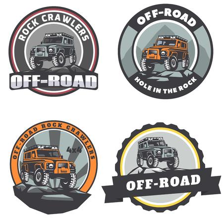 Set of off-road suv car round emblems or badges. Çizim