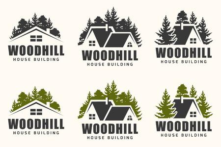 Création de logo vectoriel d'une silhouette d'arbres et petite maison. Logo pour la réparation de la maison et le bâtiment.