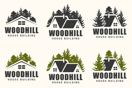 Vector logo ontwerp van een bomen silhouet en klein huis. Logo voor huis reparatie en gebouw. Stock Illustratie