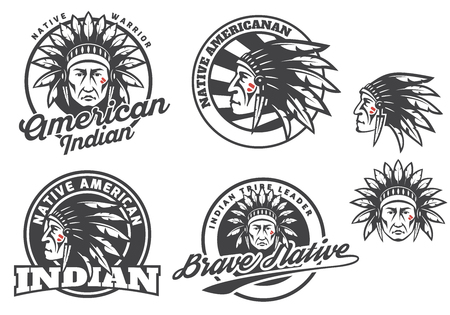 cherokee: Set of american indian round logo, badges and emblems isolated on white background.