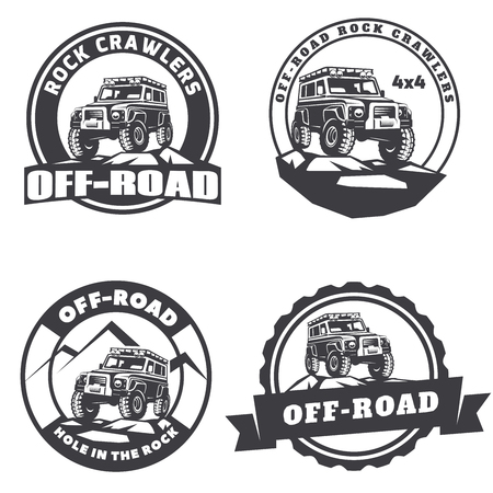 offroad: Set of off-road suv car round logo, emblems and badges.