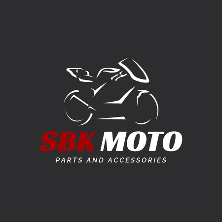 Motorcycle logo on dark background. Modern superbike silhouette.